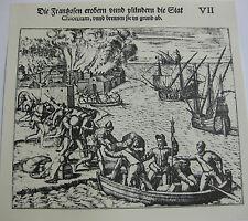 gravure XVIè Combats maritimes flibuste De Bry Reproduction petit tirage 1973