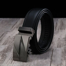 Business Mens Genuine Leather Automatic Buckle Black Waist Strap Belts Waistband