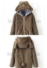 Women Girl Winter Loose Hoodie Coat Fluffy Bear Ear Hooded Jacket Warm Outerwear