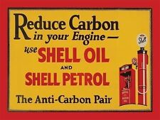Shell Oil & Petrol, Reduce Carbon, Vintage Garage Engine, Large Metal/Tin Sign