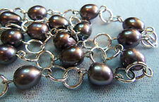 Honora STERLING SILVER DARK SILVER BLACKISH PEARL CHAIN NECKLACE NICE