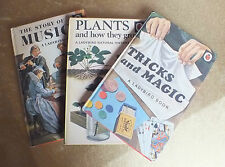 Three Ladybird books Tricks and Magic, Plants how to grow & The story of Music