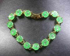Gold Plate CHINESE Icy Green JADE Circle Bead Beads Bangle Bracelet 251142