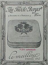 PUBLICITE LOMBART CHOCOLAT AU FIDELE BERGER BONBON DE 1916 FRENCH AD PUB RARE