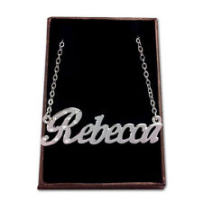 White Gold Plated Name Necklace - REBECCA - Gift Idea For Her - Designer Stylish