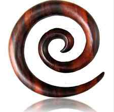 PAIR 00G (10MM) SUPER SPIRALS SONO WOOD STRETCHERS TALONS PLUGS EAR PLUG HANGER