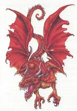 Tribal RED Dragon colorful Temporary Tattoo NEW!