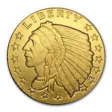 1/10 oz Gold Round - Incuse Indian #Papps75135 Lot 20161232