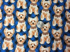 Cute YORKIES Puppy Dogs Puppies Dog Bl Novelty Quilt Fabric Fat Quarter FQ FQs