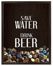 Save Water Drink Beer Graphic Shadow Box Man Cave Wall Display Frame Case Decor