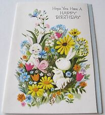Used Vtg Greeting Card Cute Bunnies Playing in the Flowers