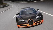 Bugatti Veyron Super Sports Car HD High Quality Gloss A4 Poster Laminated