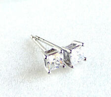 Men Boy Girl Pair Stud Earrings White Gold Plated 4mm Small Simulated Diamond