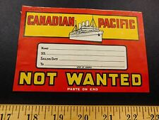 1930s-40s Canadian Pacific Steamship Travel Large Vintage Luggage Label Sticker