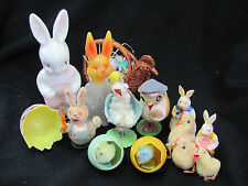 Vintage Spun Cotton Chicks Bunny Chick in Egg Spring Base Candy Container Easter
