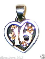 """JAMES AVERY Retired 14kt Gold & Sterling Silver """"Sweet 16"""" Petite Pendant Charm"""