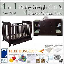 4 DRAWER WALNUT Change Table and 4 in 1 Baby Sleigh Cot FIXED SIDE Bed Package