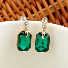 Charm Shine Green Emerald Crystal Waterdrop Dangle Ear Stud Earrings Party