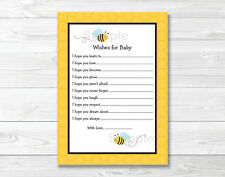 Sweet Little Bumble Bee Printable Baby Shower Wishes for Baby Advice Cards