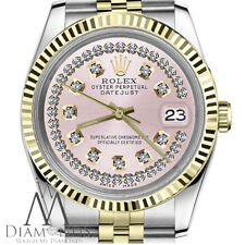 Women's Rolex 31 mm Datejust 2 Tone Pink String Diamond Dial Watch