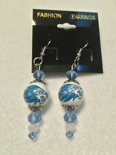 DETROIT LIONS EARRINGS GLASS BEAD NFL JEWELRY  HOOK STYLE  HANDCRAFTED CHARM