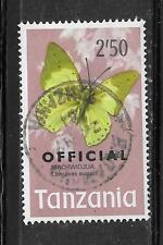 TANZANIA SC#025 1973 OFFICIAL 2.50SH BUTTERFLY POSTALLY USED STAMP