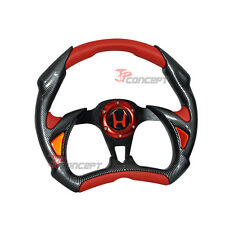 320mm JDM Racing Sport Steering Wheel Black Carbon Fiber Red PVC Horn Button