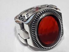 Turkish Ottoman Natural Emerald Agate Gemstone 925 Sterling Silver Men Ring 4