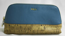 Ralph Lauren Cosmetic Case Make up Bag Bembr Cork Tall Turquoise Blue NWTS