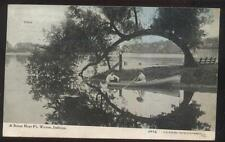 Postcard FT FORT WAYNE Indiana/IN  Artistic Lake Boat & Curved Tree Scene 1907