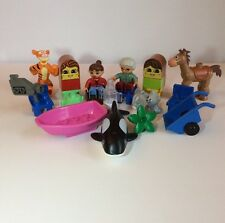 Lego Duplo Lot Minifigure Chairs Boat Wheelbarrow Tigger Whale Bullseye Teapot