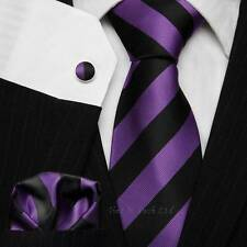 Black & Purple Striped Tie Set - Football Club Ties - School Neckties