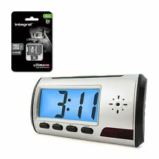 16GB Spy Camera Alarm Clock Video Recorder Hidden Nanny Cam DVR Motion Detection