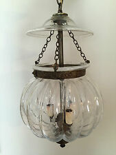 Antique Colonial Signed Hand Blown Cut Glass Hanging Lamp Bell Jar Lantern