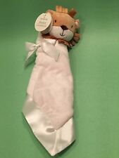 Hallmark Baby Security Blanket Boy Girl Plush Lion White Ivory Satin Toy NEW