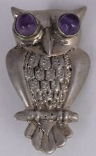 vintage Old sterling silver & Amethyst eyes Owl bird pin brooch Mexico Mexican