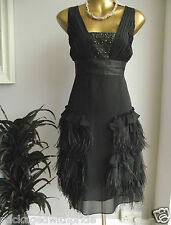 MONSOON ORIGINALS BROADWAY BLACK FEATHER 20'S FLAPPER GATSBY XMAS PARTY DRESS 10