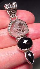 Sterling silver unusual Herkimer Diamond quartz & black onyx hinged pendant.