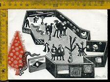 Ex Libris Xilografia Originale a 030 famiglia Pecetti Natale 1973