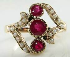 SUBLIME grandi inglese 9k oro Rich Ruby & 20 PEARL RING