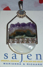 Sajen Pendant Featuring Amethyst Geode, Moonstone and Mother of Pearl .925.