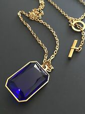 Michael Kors Parisian Jewels Gold Chain Blue Stone Pendant Necklace MKJ5001 NWT