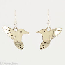 Far Fetched Hummingbird EARRINGS Alpaca Silver Dangle Bird Mima Oly - Gift Boxed