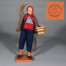 "Vintage French Terracotta Dressed Santon, Provence, ""Fisherman"", Signed Carbonel"