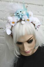 WINTER WHITE TROLL PASTEL POM POM FLORAL KAWAII LOLITA FREAKY RAVE ALICE BAND