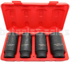 "4pc 1/2"" DR. Deep Spindle Axle Nut Socket Set 6 Point METRIC 30mm 32mm 34mm 36mm"