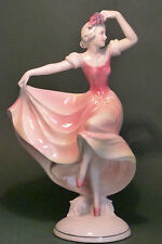 VINTAGE HERTWIG KATZHUTTE ART DECO PORCELAIN DANCING LADY FIGURE HOLDING GRAPES