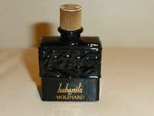 "LALIQUE VINTAGE HABANITA DE MOLINARD EMPTY BLACK GLASS BOTTLE 2 1/4"" TALL"