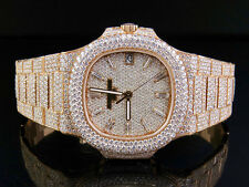18k Rose Gold Mens Patek Philippe Nautilus 5711/1R-001 Pave Set Diamond Watch