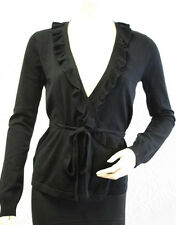 "$138 BCBG BLACK ""REI4C325"" RUFFLE WRAP SWEATER CARDIGAN TOP NWT M"